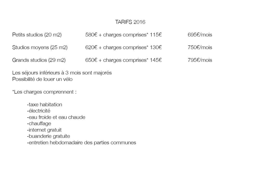 tarifs 2016